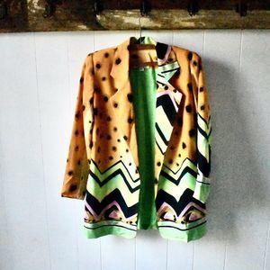 Vintage Yolanda Lorente Hand Painted Silk Blazer